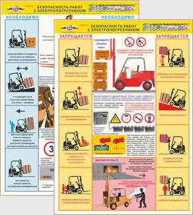 плакат безопасность работ с электропогрузчиком